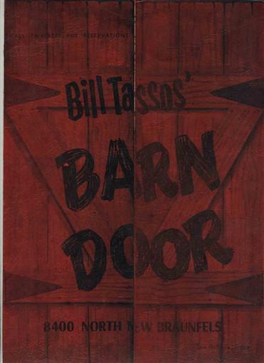 Bill Tassos Barn Door Menu 1950s San Antonio Texas Free 72 Oz