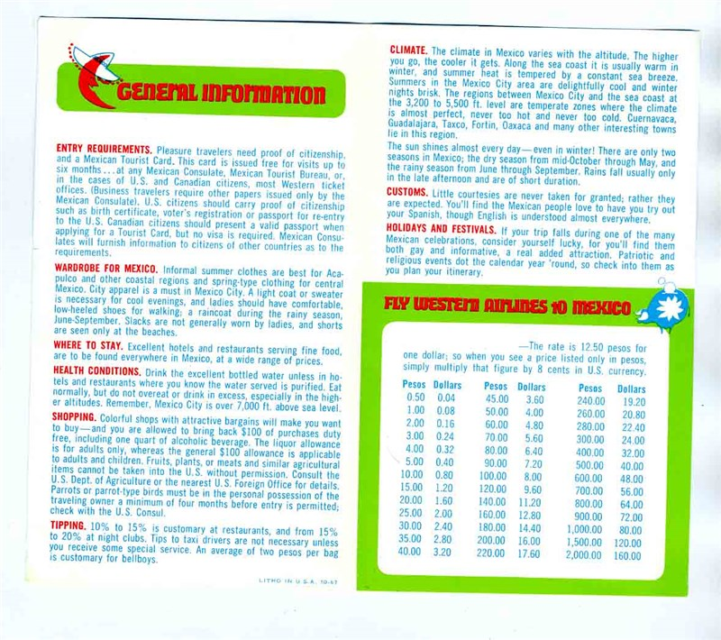 Western Airlines General Information Peso Dollar Conversion Chart