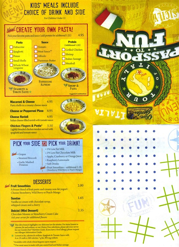 a 16 panel fold out that when folded is a the olive garden italian restaurant passport to fun and when opened has a kids menu games and activities - Olive Garden Kids Menu