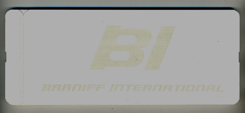braniff international ventilador pliegue en blanco billete stock bi