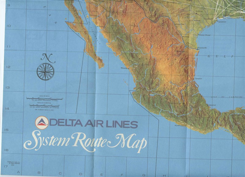 A Delta Airlines System Route Map with Airplane & Aviation ... on