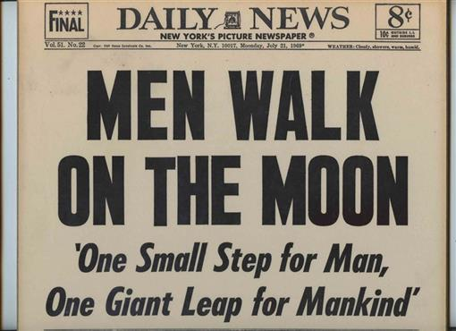 0f6b04722bc Details about Men Walk On The Moon New York Daily News July 1969 Headline  Mounted on Masonite