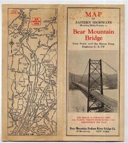 Details about Map of Eastern Highways Main Routes to Bear Mountain Bridge  Brochure 1930\'s